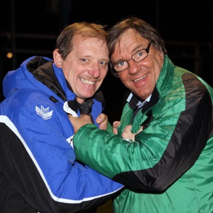 Trainers Johan Sulkers (links) in zijn tijd bij NOAD en Ko Stoutjesdijk (rechts) destijds van WHS. foto Chris van Klinken/het fotoburo