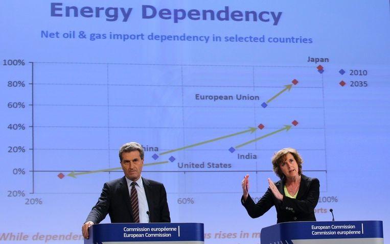 Eurocommissarissen Gunter Oettinger (Energie) en Connie Hedegaard (Klimaat). Beeld epa