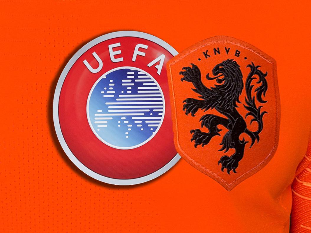 Logo's van de KNVB en de UEFA.
