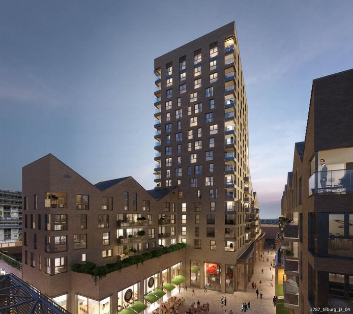Impressie van het nieuwe zuidelijke deel van de Frederikstraat, met woontoren. Voorin het Hendrikhof waar links op de hoek boekhandel Gianotten Mutsaers een plekje krijgt.
