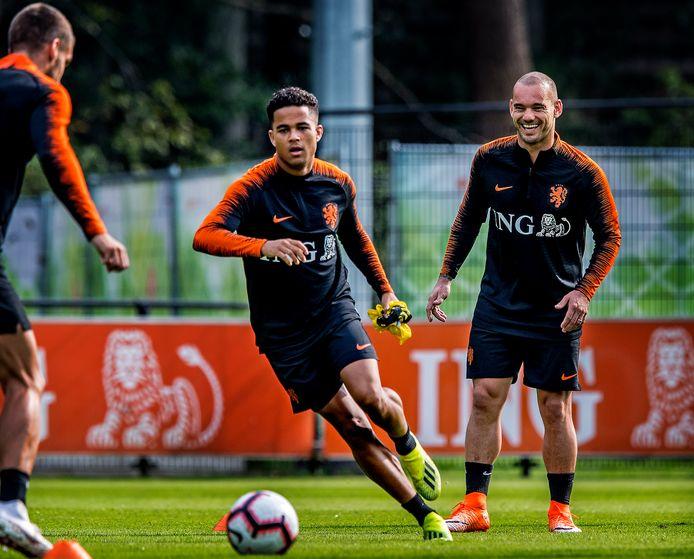 Justin Kluivert op de training van het Nederlands elftal