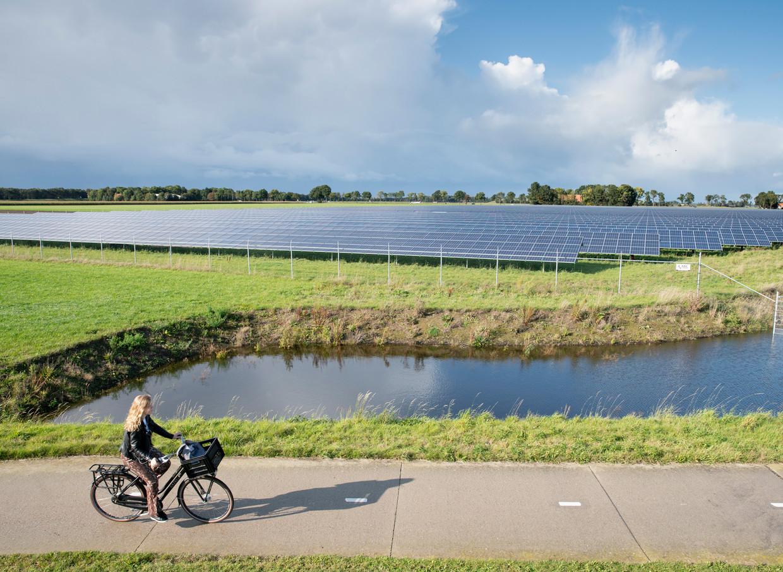 Een weiland met zonnepanelen bij Emmeloord voor een klimaatvriendelijke vorm van energie.  Beeld Harry Cock / de Volkskrant