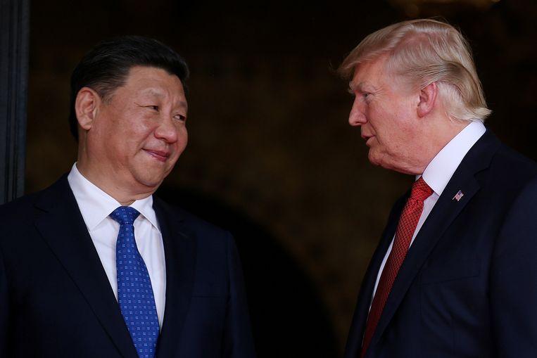 De Chinese president Xi Jinping en de Amerikaanse president Trump, 9 november 2017 in Beijing. Beeld Reuters