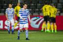 Daryl van Mieghem van De Graafschap treurt na weer een goal van VVV.
