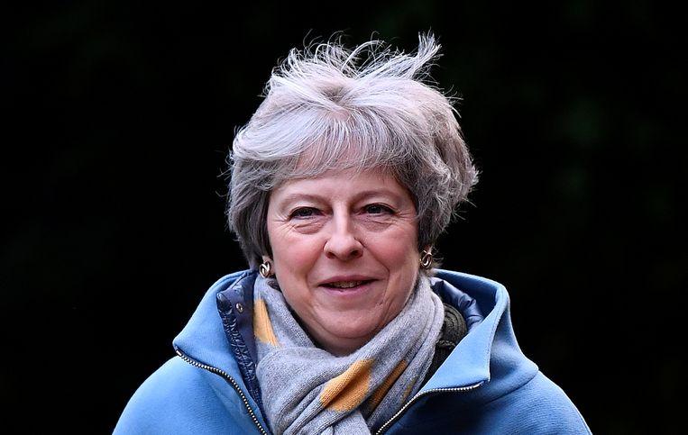 De Britse Theresa May gisteren na een kerkbezoek.