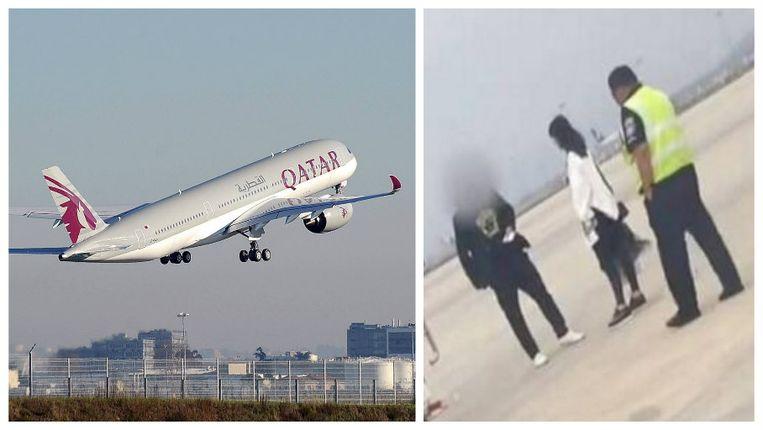 Het incident gebeurde op een vlucht van Qatar Airways. Rechts een beeld dat door een piloot werd gedeeld op Twitter en waarop het koppel te zien zou zijn.