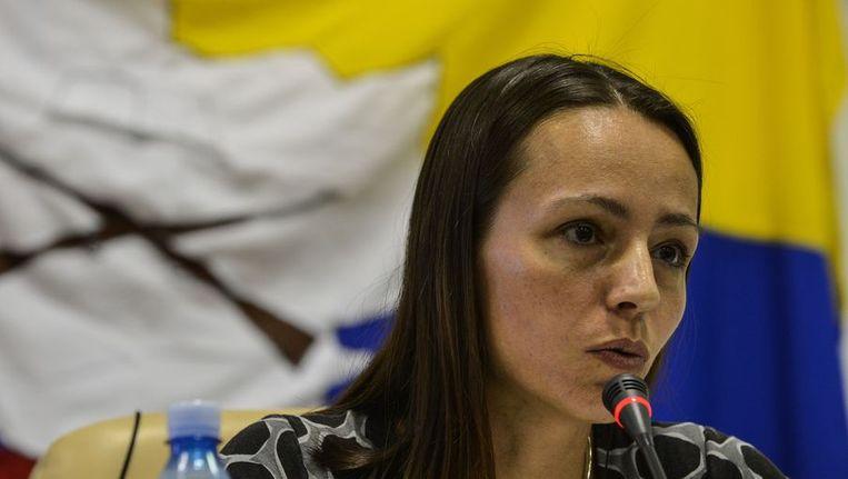 De Nederlandse Tanja Nijmeijer onderhandelt voor de FARC Beeld ANP
