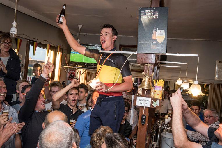 De Belgische titel van Yves Lampaert werd vorig jaar nog uitgebreid gevierd in café De Wante