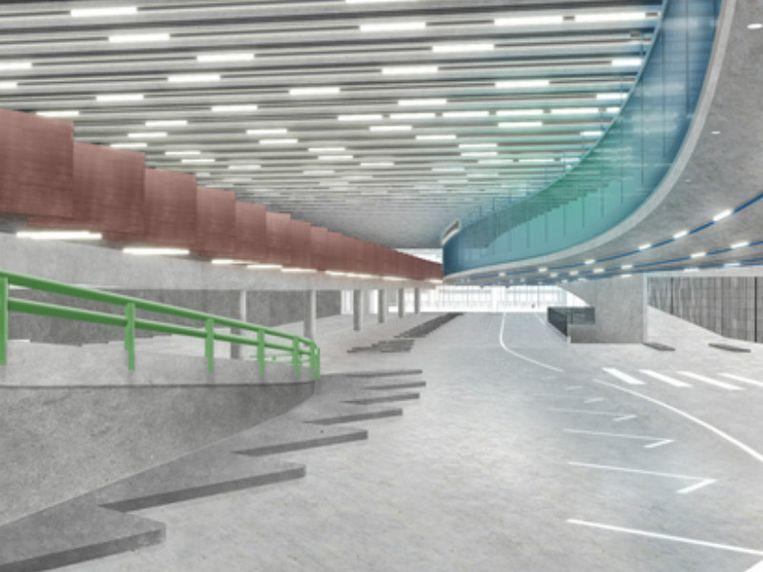 De betonwanden van de autotunnel die onder de Leien komt, worden met de spade uitgegraven.