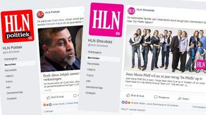Nieuwe Facebookpagina's van HLN met alleen politiek- en showbizznieuws