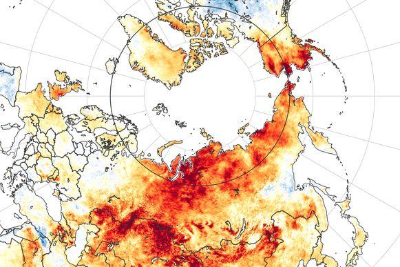 Een beeld vrijgegeven door NASA. Siberië wordt getroffen door ongewoon hoge temperaturen en bosbranden die wetenschappers met verstomming doen slaan.