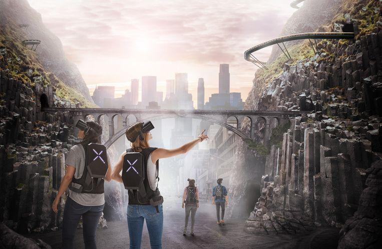 Gewapend met een VR-bril en rugzak met sensoren wandel je als speler het decor binnen en kom je terecht in een nieuwe wereld.