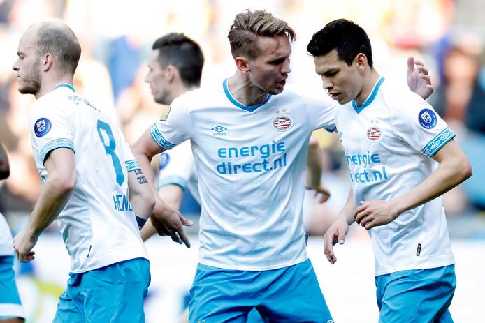 Hirving Lozano tijdens Vitesse-PSV, eerder dit seizoen.