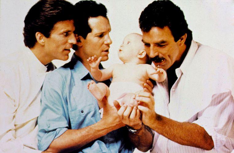 Een beeld uit de originele 'Three Men and a Baby', met Ted Danson, Steve Guttenberg en Tom Selleck