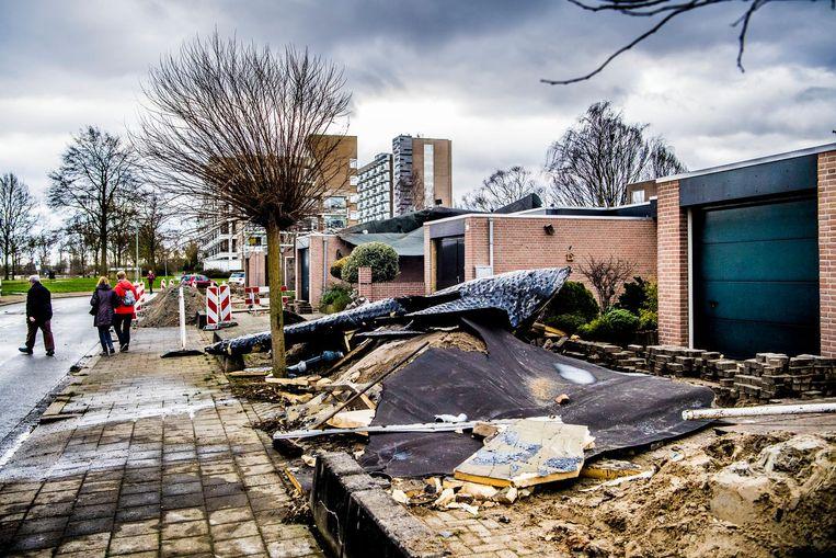 Schade aan huizen in Dordrecht. Beeld null