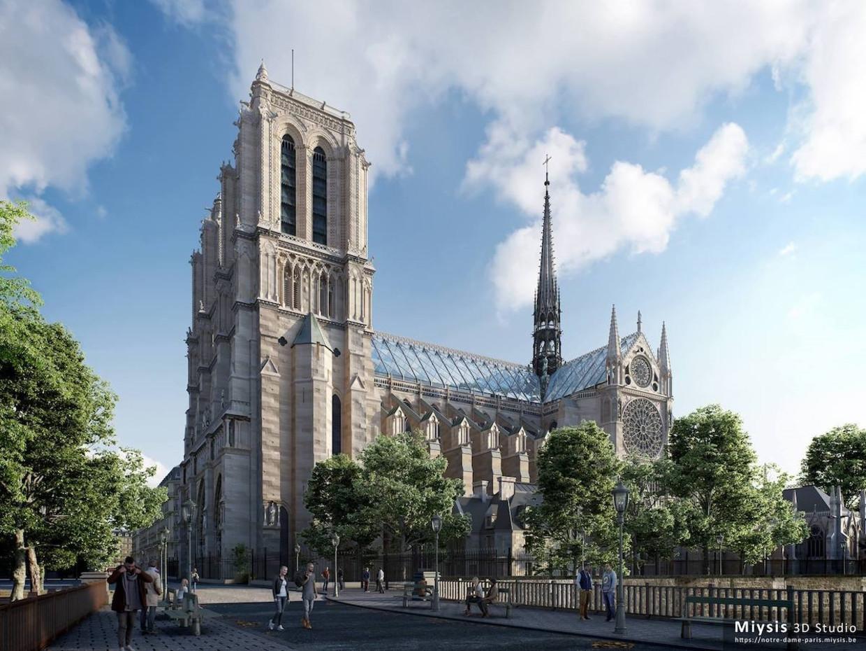 De Belgische 3D-studio Myisis wil de Notre-Dame een glazen dak geven.