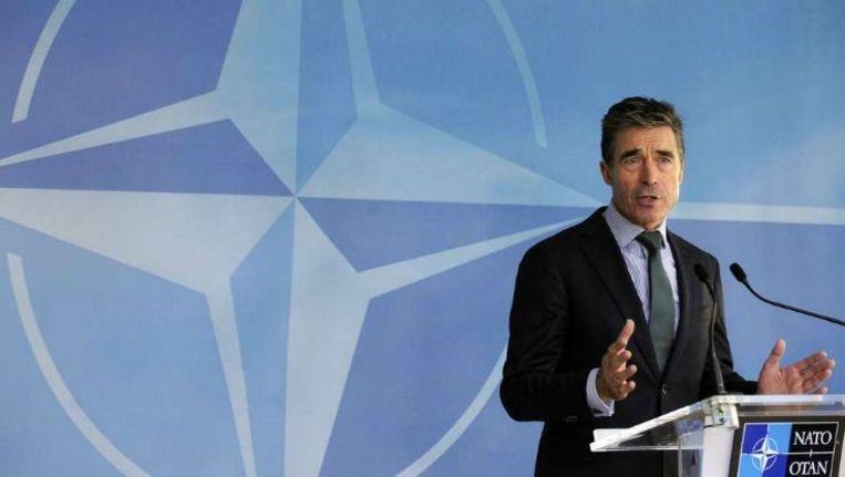 Secretaris-generaal Anders Fogh Rasmussen tijdens een persconferentie in Brussel: 'We kunnen niet doorgaan alsof er niets gebeurd is'. Beeld afp