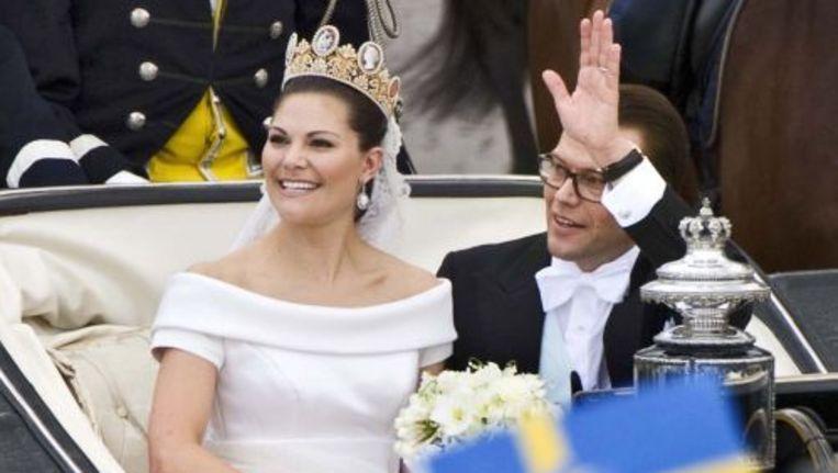 Victoria en haar man Daniel op hun huwelijksdag. ANP Beeld