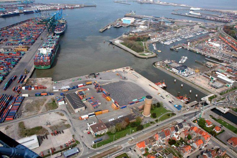 De haven van Zeebrugge vanuit de lucht.