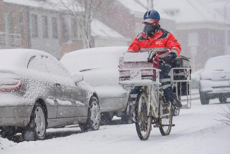 Deze postbode trotseert de sneeuw in Stabroek.