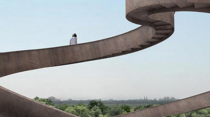De uitkijktoren in Moerenburg. Ontwerp Elena Lledó.