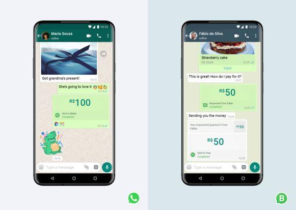 Deze screenshot van WhatsApp toont hoe zo'n betaling in Brazilië in zijn werk gaat.