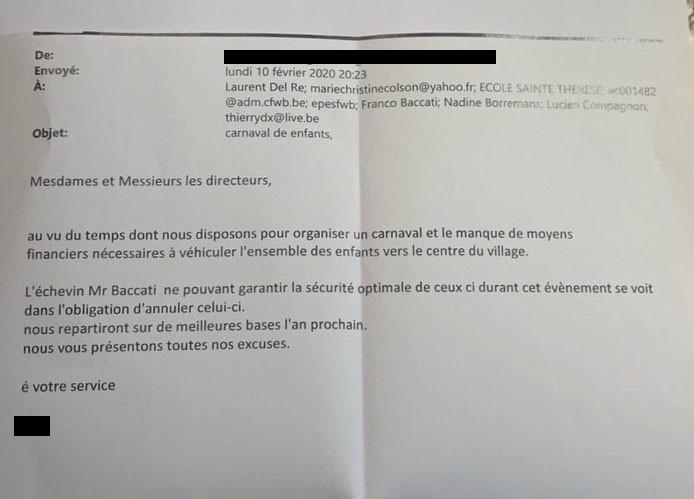 Mail envoyé aux directeurs d'école et exposant les motifs d'annulation du carnaval