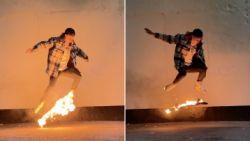Skater stunt met brandend board