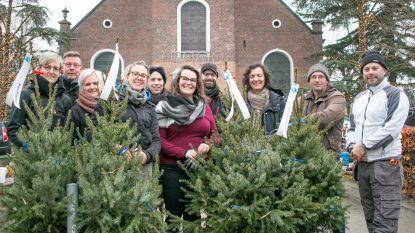 Zelfstandigen zetten 150 kerstbomen op dorpsplein om voor extra sfeer te zorgen