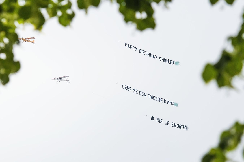 De boodschap voor Shirley die zaterdag boven Utrecht te zien was.