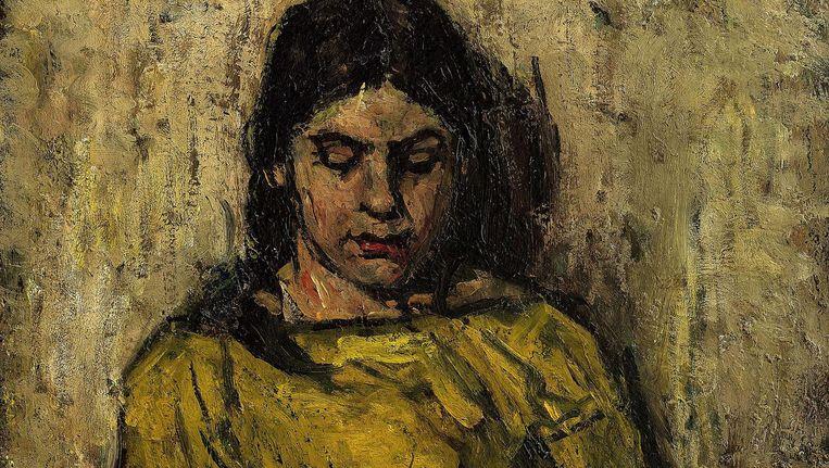 Meisje in gele jurk, lezend Beeld PAN