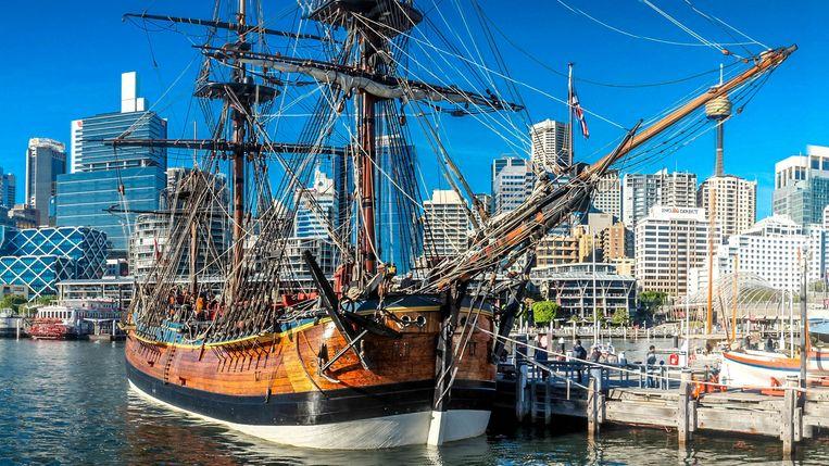 De replica van de 'Endeavour', het zeilschip van de Britse ontdekkingsreiziger James Cook. Beeld Wikipedia