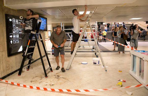 De kleine schade na de explosie in Brussel-Centraal is woensdagvoormiddag meteen hersteld.