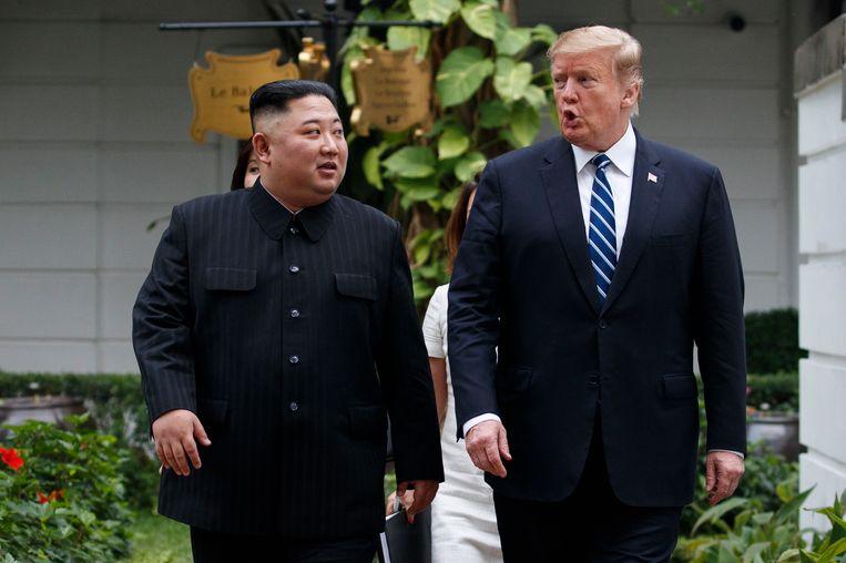 Kim en Trump bij de tweede top tussen de twee in Hanoi, Vietnam, in februari van dit jaar. Sinds die mislukte top zijn de gesprekken tussen Noord-Korea en de VS vastgelopen.