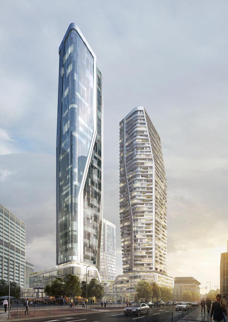 In de torens komen onder meer appartementen en kantoren. Beeld UNStudio