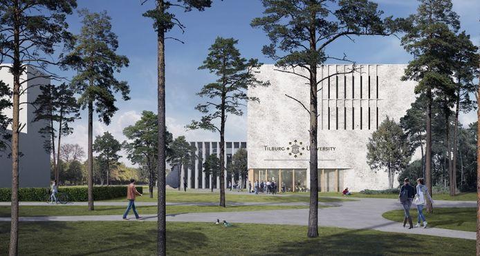 Eerste impressie van het toekomstige onderwijsgebouw van Tilburg University.