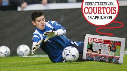 Dag voor zijn debuutstond hij nog op trampolinebij de buren: de eerste keer van Thibaut Courtois op de sportcover van HLN
