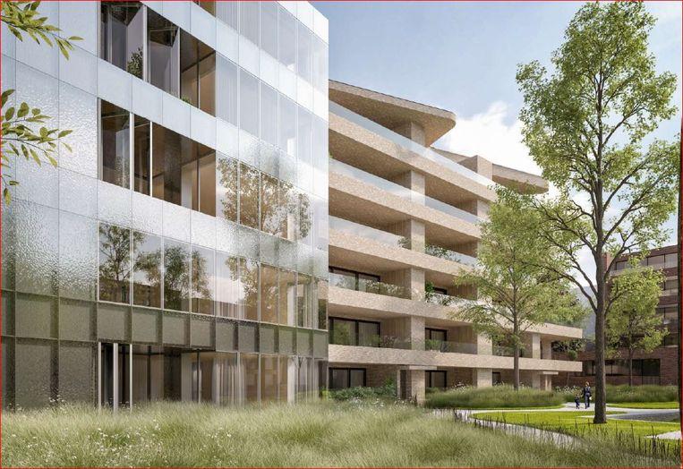 Een blik op de toekomstige Speytorre, een nieuw flatgebouw langs de Leie, schuin achter de rechter-Broeltoren (op deze simulatie niet te zien).