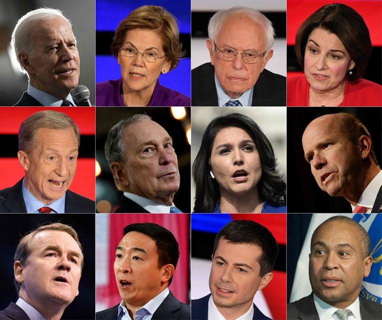 Deze twaalf Democraten willen in november 2020 graag Amerikaans president worden. Van links naar rechts, boven: Joe Biden, Elizabeth Warren, Bernie Sanders en Amy Klobuchar. Van links naar rechts, midden: Tom Steyer, Michael Bloomberg, Tulsi Gabbard en John Delaney. Van links naar rechts, onder: Michael Bennet, Andrew Yang, Pete Buttigieg en Deval Patrick.