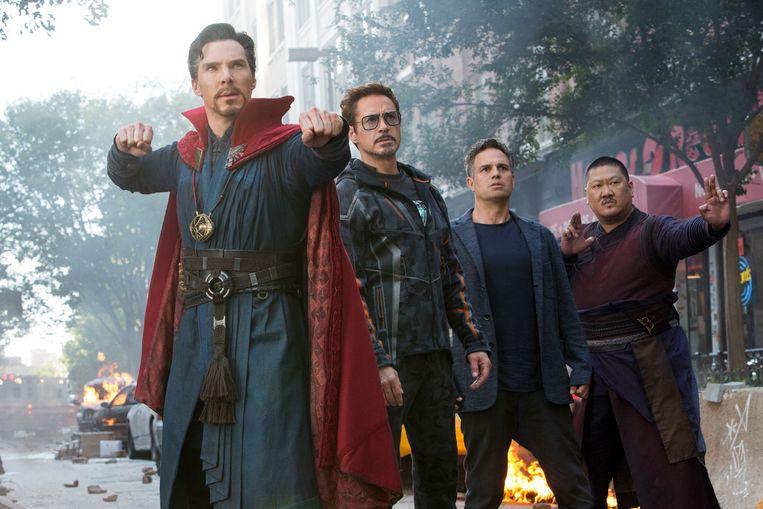 Van links naar rechts: Benedict Cumberbatch, Robert Downey Jr., Mark Ruffalo en Benedict Wongin Avengers: Infinity War. Beeld AP