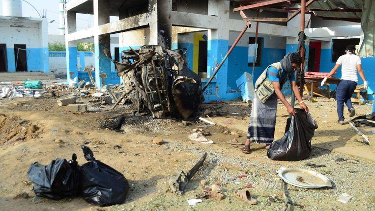 Het gebombardeerde ziekenhuis in Abs. Beeld AFP