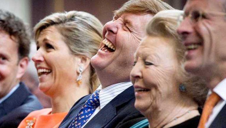 Koningin Máxima, koning Willem-Alexander en prinses Beatrix eerder deze maand in Amsterdam. Beeld anp