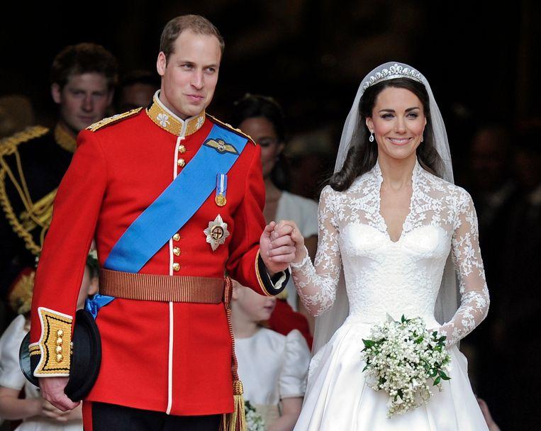 William en Kate op hun huwelijk in 2011
