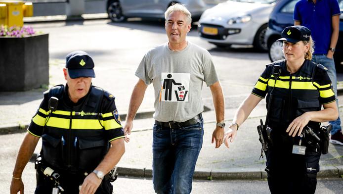 Edwin Wagensveld toen hij vanmorgen werd afgevoerd.