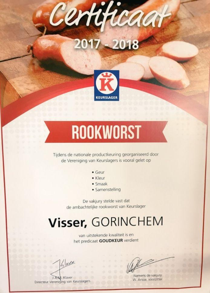 De rookworst van keurslager Visser in Gorinchem is weer goud bekroond.