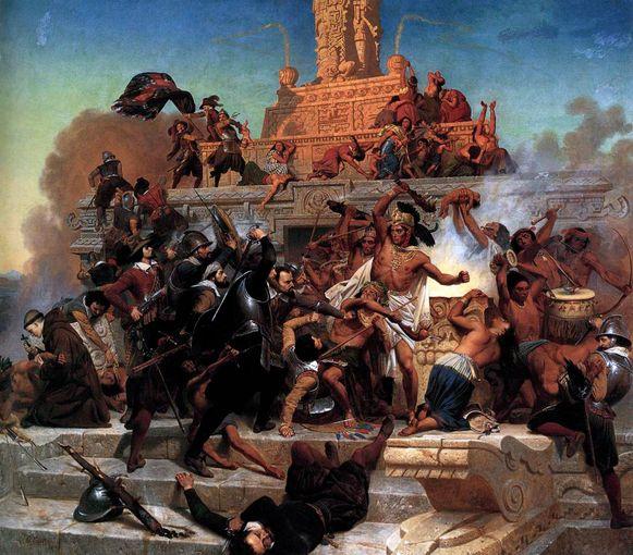 De Spaanse veroveraar Cortez bij de bestorming van de Teocalli-piramide in het huidige Mexico.
