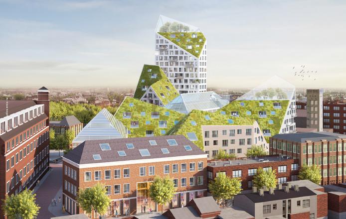 Plan Nieuw Bergen van SDK Vastgoed e.a. gezien vanaf Grote Berg met de schuine daken en de 62 meter hoge toren aan de Edenstraat. Illustratie SDK Vastgoed BV