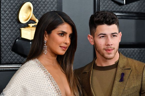 Priyanka Chopra en Nick Jonas op de Grammy Awards.