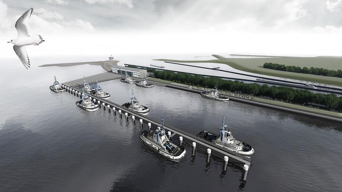 Impressie nieuwe dienstenhaven net buitengaats het Terneuzense sluizencomplex, aan de Lange Middenhavendam waarop aan het einde sinds jaar en dag de nautische verkeerscentrale van Rijkswaterstaat staat.