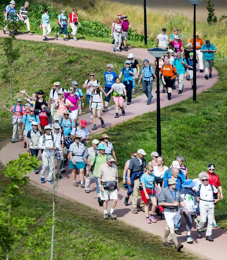 Deelnemers wandelen in Elst op de eerste dag van de 99ste editie van de Vierdaagse van Nijmegen. Beeld anp